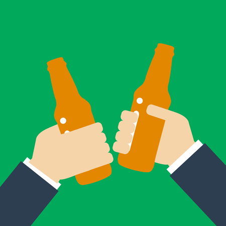 Beer party icon silhouette. Two mans holding in hands beer bottles. Toast. Drinking alcoholic beverages. Friday party. Illustration