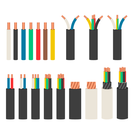 Electrical cables. Set with varieties of electric wire. 版權商用圖片 - 96175753