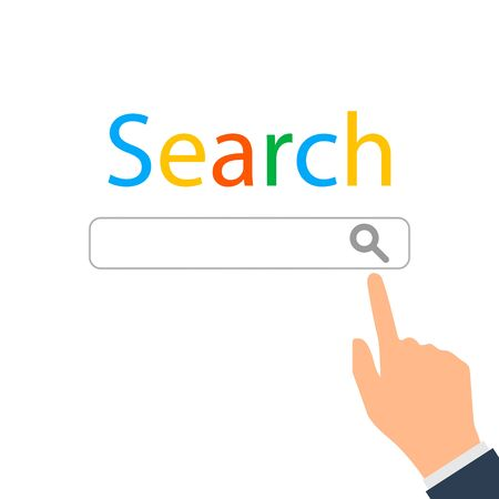 Modern technology of information retrieval. The concept of search. The finger clicks on the search bar with a magnifying glass.