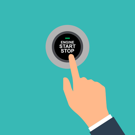 Engine starting and stopping system. Engine start. The person presses the finger on the start and stop button of car motor. Vector illustration flat design