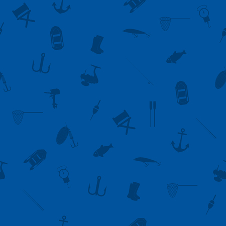Hand drawn fishing elements. Graphic vector seamless pattern