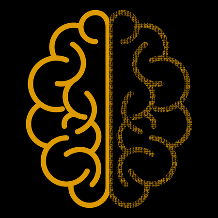 Abstract brain with binary computer code. Vector illustration Illustration