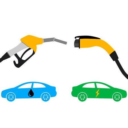 illustratie van elektrische auto en brandstof strijd concept