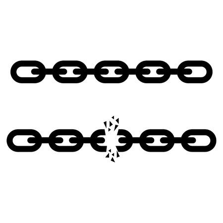 Broken steel chain links freedom vector concept. Disruption strong steel illustration