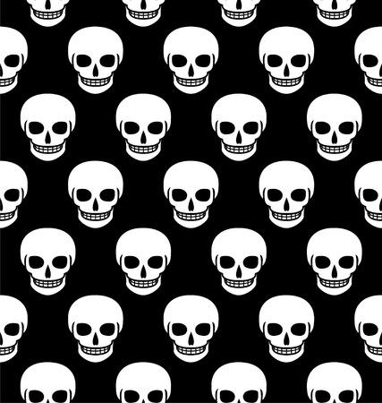 Skulls seamless pattern. Vector illustration flat design Illustration