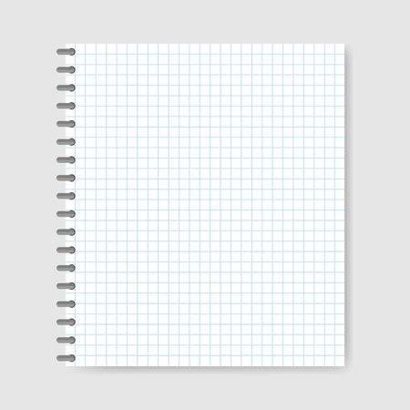 School notebook paper background, vector illustration