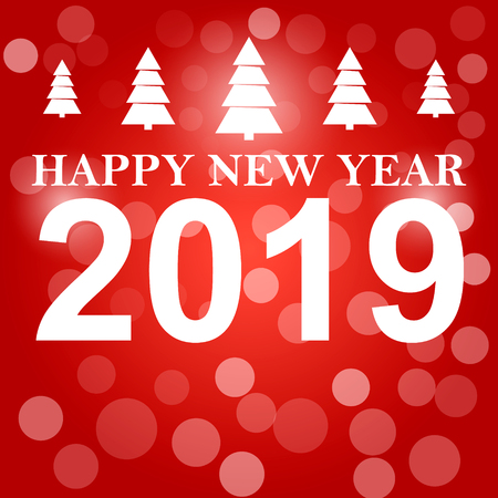 Happy New Year 2019 background decoration. Greeting card design template 2019 confetti.