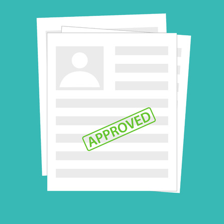 Rejected document with stamp and pen. Modern flat design graphic elements. Rejected application concepts. Vector illustration in flat style isolated on color background. Top view.