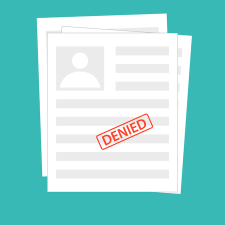 Denied reject document with stamp. Grey application concepts. Top view. Modern flat design graphic elements for web banners, websites, infographics. Vector illustration paper document with photo id