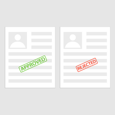 Pack sheets paper with stamp of rejected, approval. Summary with mark about refusal, acceptance. Illustration