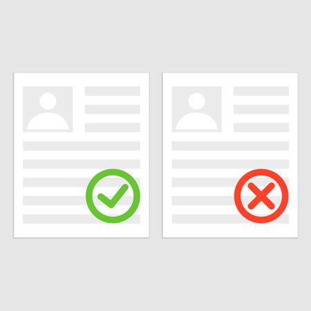 Pack sheets paper with stamp of rejected, approval. Summary with mark about refusal, acceptance