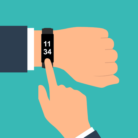Fitness tracker on hand. Sport accessories smart band. Pedometer with activity indicator. Heartbeat pulse meter. Sport bracelet. Vector illustration flat design.