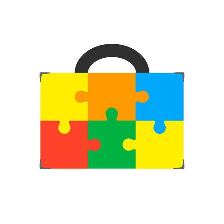 Illustration of an isolated briefcase icon with a puzzle piece. Illustration