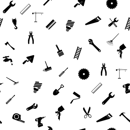 Seamless pattern with repair working tools icons. Vector Illustratie