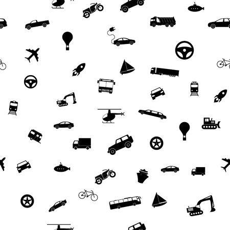 seamless transport pattern. Vector illustration Icons in flat style