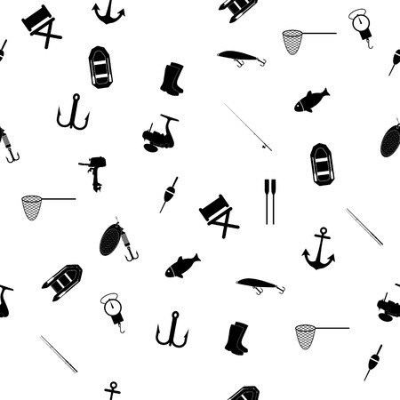 Hand drawn fishing elements. Graphic vector seamless pattern.