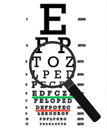 Eye vision test, poor eyesight myopia diagnostic on Snellen eye test chart. Vision correction with glasses.  イラスト・ベクター素材