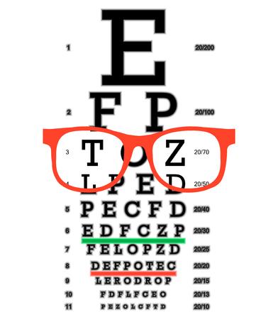 Eye vision test, poor eyesight myopia diagnostic on Snellen eye test chart. Vision correction with glasses. Ilustração