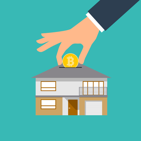 House shaped piggy bank. Vector illustration EPS