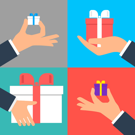 Square button. Vector icon Flat icons. Hand holding small gift box set.
