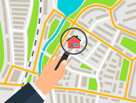 Search house on the map banner concept, vector illustration.
