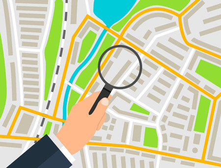 The marker on the city map under the magnifying glass. Illustration