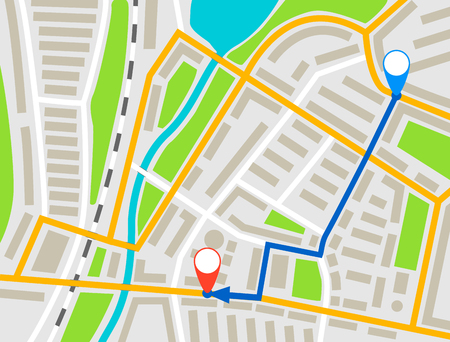 City map navigation route, color point markers design background, vector drawing schema, simple city plan GPS navigation, itinerary destination arrow paper city map. Route delivery check point graphic Illustration
