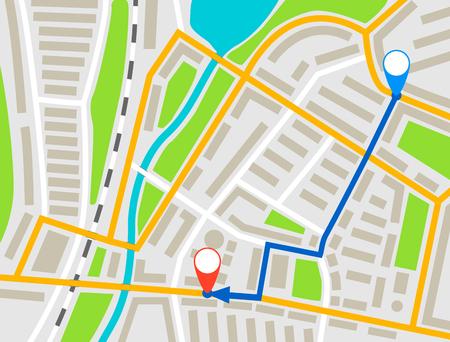 Itinéraire de navigation de la carte de la ville, arrière-plan de conception des marqueurs de points de couleur, schéma de dessin vectoriel, navigation GPS simple sur le plan de la ville, carte de la ville en papier avec flèche de destination de l'itinéraire.
