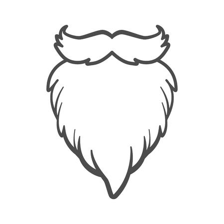 White furry vector Santa Claus beard isolated.