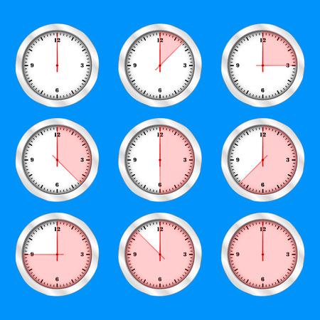 Time clock icon set flat design, vector illustration