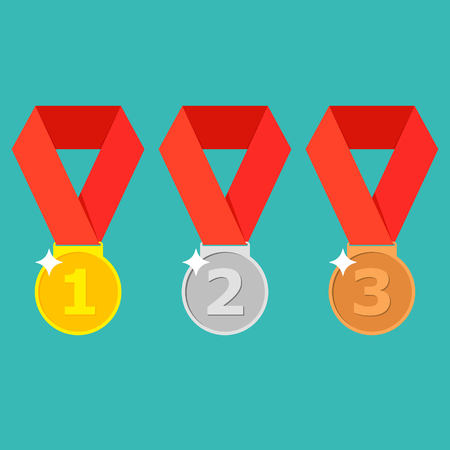Gold, silver, bronze medal with red ribbon. 1st, 2nd and 3rd places. First, second, third place. Award winner trophy . Golden badge for achievement. Vector flat design Illustration