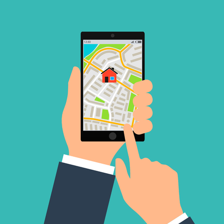 Mobile gps navigation on mobile phone. Hand holds smartphone with city map on screen. Vector illustration flat design. Icon isolated device