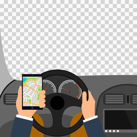 Man using smartphone while driving the car, traffic accident graphic design conceptual vector illustration. City map colored illustration for navigation program or mobile app Illustration