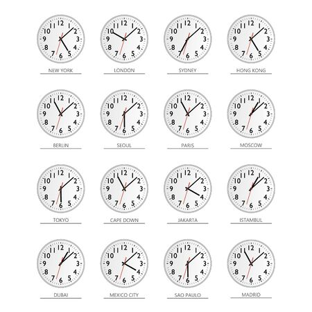 World time. Watch. Time zones Vector flat illustration.