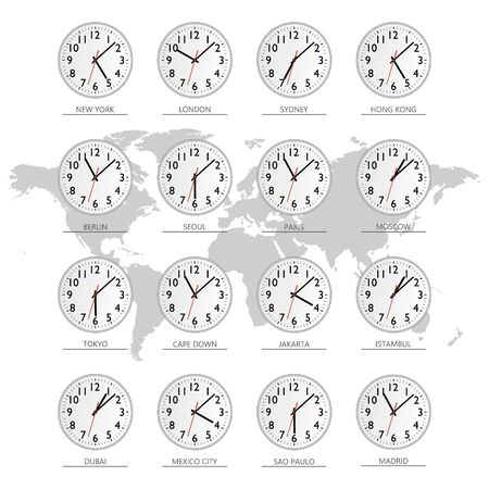 World time. Watch. Time zones Vector flat illustration 일러스트