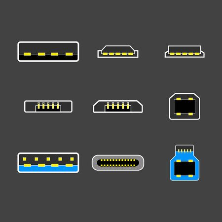USB type A, B and USB type C plugs, micro, lightning, universal computer white cable connectors, top view vector illustration
