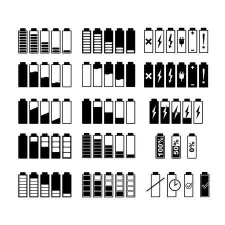 Monochrome pictures of smartphone battery in different levels of charging. Charge battery power for smartphone. Vector illustration. Banco de Imagens - 124973422