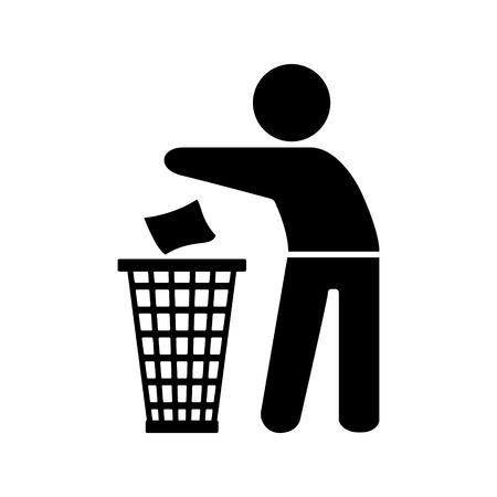 Müllelement-Silhouette eines Mannes, der Müll in einen Korb auf dem weißen Hintergrund wirft