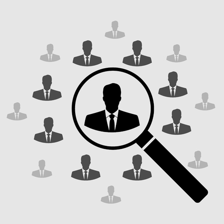 Human Resource Icon. Search for employees and job, business, human resource Looking for talent Search man vector icon Job search Magnifying glass with man inside Иллюстрация