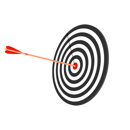 Red target with arrow, flat style, long shadow, vector illustration.