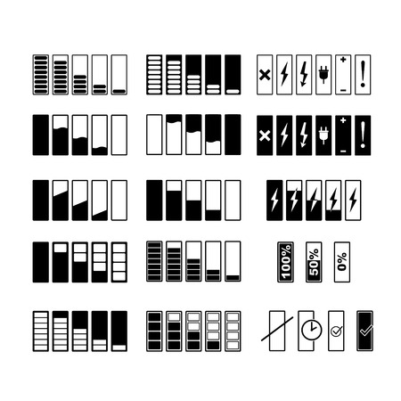 Monochrome pictures of smartphone battery in different levels of charging. Charge battery power for smartphone. Vector illustration Illustration