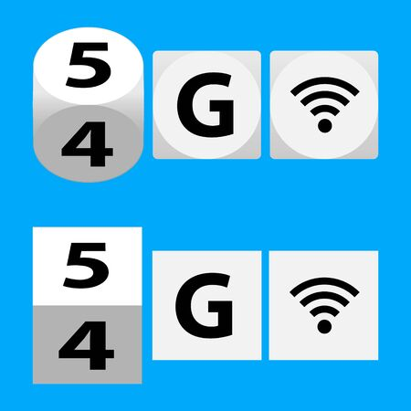 5g - 5th Generation Wireless Internet Network Connection Information Technology Illustration. Mobile devices telecommunication business web networking logotype vector illustration.