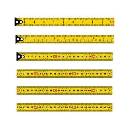 Ruler measuring tapes. Vector long tape set for measure, inches and metric meters, isolated on white background