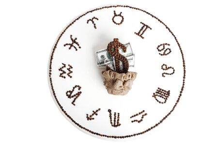 drawing of coffee beans in the form of zodiac signs on a table isolated on a white background. top view