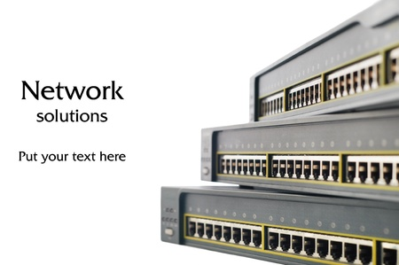 Heap of network equipments switches isolated on white
