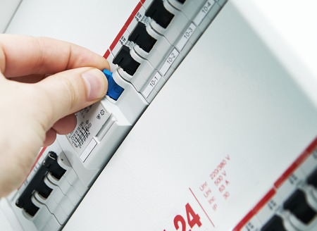 power distribution: Closeup view of a box with automatic fuses  Stock Photo