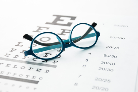myopia: Glasses on eye chart
