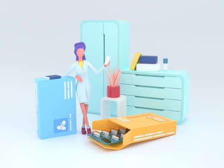 Healthcare series: Pharmacist. Pharmacist at work 3d render