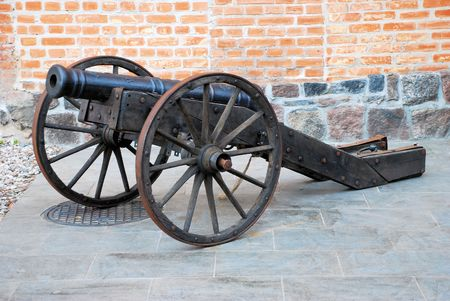 firepower: Old cannon at armour exibition in Poland Stock Photo