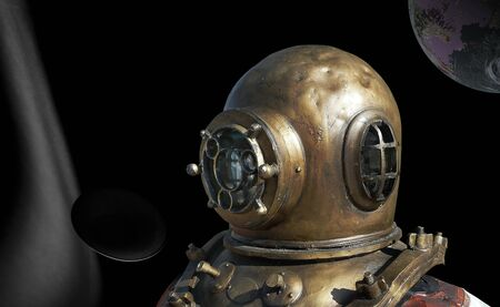 outerspace: diving bell on diver in outerspace